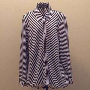 Notations black and white stripe blouse